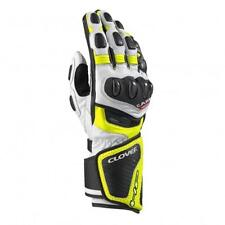 GUANTI MOTO RACING CLOVER RS-8 BIANCO/GIALLO FLUO TG.M PELLE BOVINA + CANGURO