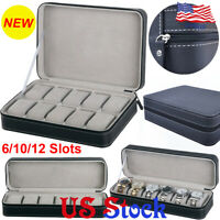 Jewelry Portable Travel Zipper Collector Storage Box 6/10/12 Slots Watch Case