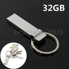 32GB USB2.0 Flash Stick Memory Drive Metal Key Chain Storage Pendant U Disk Gift