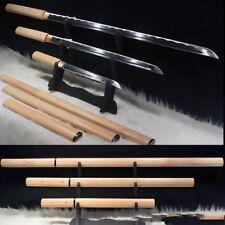 Sets 3 Japanese Hanbo Sword Tang Sword Carbon Steel sharp blade Wood Sheath#3777