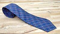 Vintage Tie John Henry Blue Plaid Pink Skinny NARROW Retro Mod