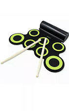 Electronic Drum Set Paxcess Roll Up Practice Pad Midi Kit Headfone Jack 2 Pedals