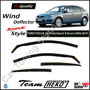 FORD FOCUS mk2 Hatchback Saloon 4/5-Doors 2004-2010 Wind Deflectors Heko Tinted