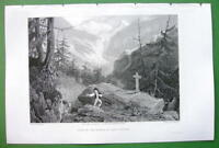 SWITZERLAND Forest of St Pierre Napoleon Accident - SCARCE 1836 Antique Print