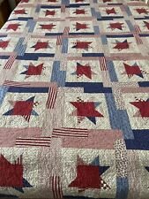 """WOW Americana Vintage Handmade Lucky Star Quilt Signed Dated 64"""" x 90"""" #149"""