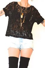 vtg 90s Black SHEER LACE Grunge Goth Witchy Short Sleeve SLOUCH Shirt Top Blouse