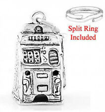 STERLING SILVER CASINO PLAY SLOT MACHINE CHARM WITH ONE SPLIT RING
