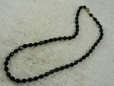 Bead Necklace (D10) Faceted Black Glass