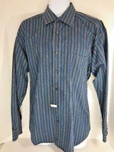 Johnston Murphy Men's L Long Sleeve Dress Shirt Blue Stripes   G1