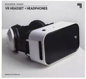 VR Virtual Reality Headset With Built-In Headphones Sharper Image White/Black