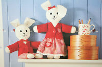 Rag Doll Rabbits Soft Toys with 2 Sets of Clothes, Sewing Pattern (SP01)