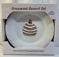 """10 Strawberry Street Gold Rimmed 7 3/4"""" Salad/Dessert Plates Set Of 4 (2 sets )"""