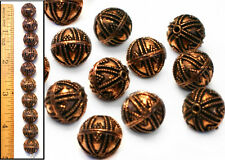 LG 12mm Solid Copper Heavy Wall Granulated Turkish Bali Style Round Beads 10pc