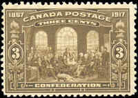 1917 Mint H Canada F+ Scott #135 3c 50th Anniversary Issue Stamp
