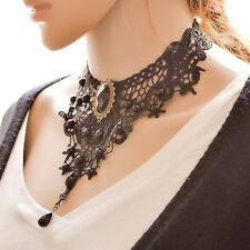 New Black Lace Choker Victorian Steampunk Style Gothic Collar Necklace Jewellery