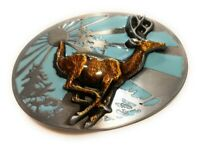 ✖ HQ WESTERN WHITE TAIL DEER  Cowboy Rodeo Style Belt Buckle Heritage USA