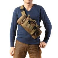 Hommes Tactique Militaire Sac Banane Épaule Paquet Mou Randonnée Camping Sac FR