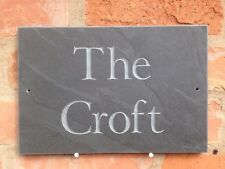 """Superb natural Quality Slate House sign 12"""" x 8""""  ANY NAME / NUMBER!!"""