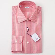 NWT $350 BARBA NAPOLI Coral Red Stripe Cotton Dress Shirt 17 x 37 Handmade