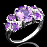 100% NATURAL 10X8MM AMETHYST & AFRICAN AMETHYST STERLING SILVER 925 RING SIZE 7