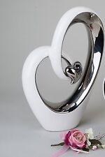 Moderne Cœur Sculpture Décoration Objet en Céramique Blanc/Argenté Hauteur 37