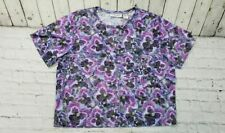 Cathy Daniels Purple Pink Floral Short Sleeve Shirt Women's Size XL