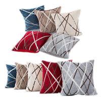 Stripe Chenille Throw Pillow Cushion Cover Case Room Decor Sofa Multi-colors