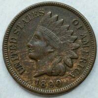 1890 - US Indian Head Penny  Woody  Die Crack?  Nice Diamonds FULL LIBERTY Q321)