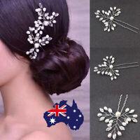 2x Crystal Pearl Bridal Hair Pins Clips Hairpins Accessories Wedding Hair Clasp