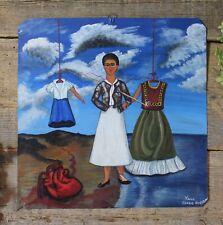 Frida Kahlo Self-Portrait Heart Tin Painting Retablo Oaxaca Mexican Folk Art