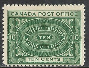 CANADA SCOTT E1 MH FINE+ - 1898 10c BLUE GRN SPECIAL DELIVERY ISSUE  CAT $110.00