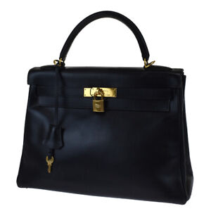 AUTHENTIC HERMES KELLY 32 HAND BAG BOX CALF LEATHER BLUE CADENA FRANCE 60LB194