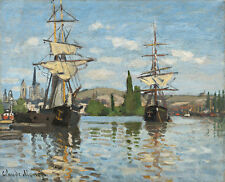 Ships Riding on the Seine at Rouen by Claude Monet 75cm x 61cm Canvas Print
