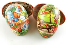 """2 Vtg Paper Mache Easter Egg Candy Containers 6"""" x 3.5"""" Bright Color Germany S09"""