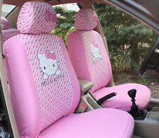 Car Seat Covers Pink Hello Kitty Cartoon Universal Car Interior 10 Pieces