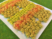 Yellow Flowers & Bushes Mix - Static Grass Tufts Model Scenery Wargames Railway