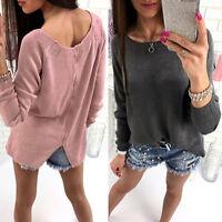 Women Long Sleeve Back Zip Loose Knitted Sweater Winter Casual Jumper Top Shirt