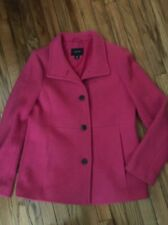 Lands' End Women's Size 10 Pink or Fuchsia Wool Car Coat Wool Single Breasted