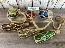 """33"""" Glass Bottles & Fishing Floats On Rope -Blue, Green, Red, Amber, Clear Decor"""