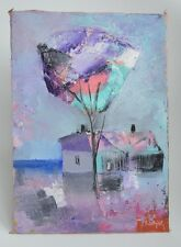 ORIGINAL ABSTRACT OIL PAINTING ON STRETCHED CANVAS 29.5 x 21 CM