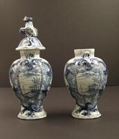 18th C Dutch Delft Blue & White Garniture Vases, Holland Marked JVDH