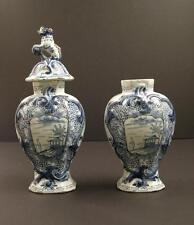 18th C Dutch Delft Blue & White Garniture Vases, Holland Marked JVDH