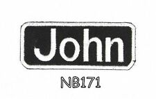 John White on Black Iron on Name Badge Patch for Motorcycle Biker Vest NB171