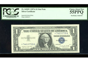 1957-A Silver ⭐️STAR Fr. 1620* PCGS 55 PPQ Serial *74610759A