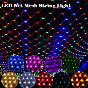 In/Outdoor Garden LED Net Lights String Fairy Mesh Lamp Waterproof Mains Plug in