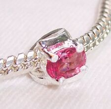 October Birthstone Pink Rhinestone Ring Bead for Silver European Charm Bracelet