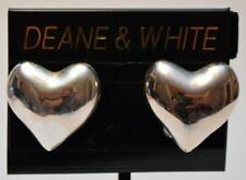 New Original Card Deane & White Silvertone Heart Shape Clip-On Earrings