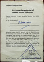 East Germany The German Democratic Republic GDR Parcel Return note 1984