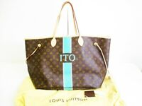 Auth LOUIS VUITTON Mon Monogram Brown Leather Tote Bag Neverfull GM #7269
