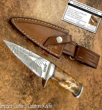 IMPACT CUTLERY RARE CUSTOM D2 SKINNING BOWIE KNIFE CAMEL BONE HANDLE
